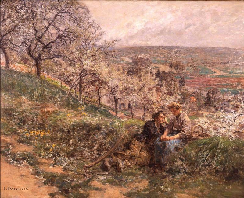 Boy and Girl in Spring Landscape