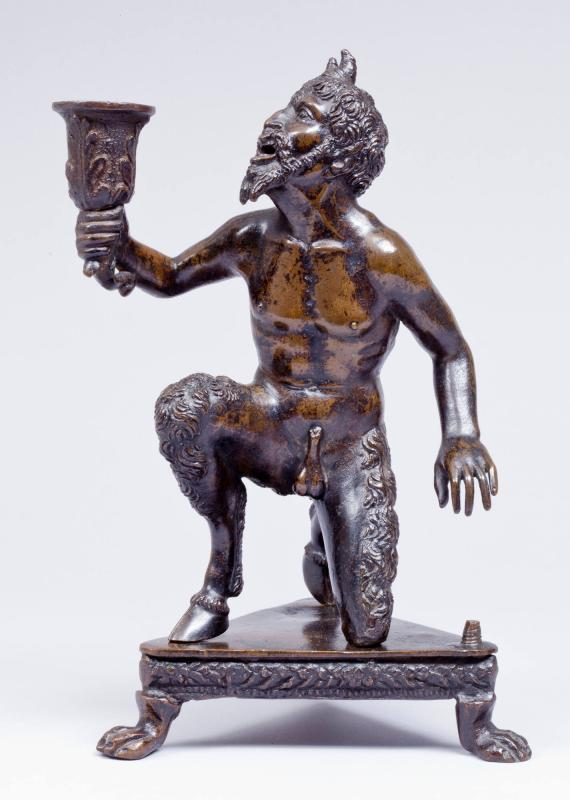 Candlestick and Inkwell (or Sandbox) Depicting a Kneeling Satyr