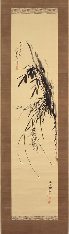 Cliff with Orchid and Bamboo